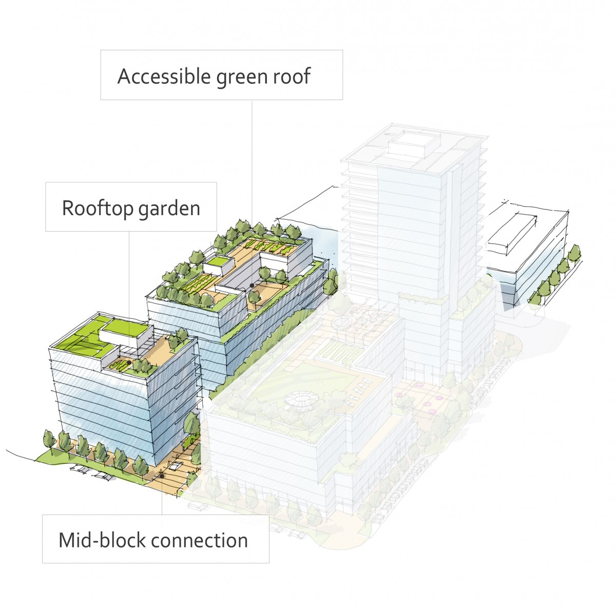 2040 OCP - Form and Character - Figure 38 - Examples of outdoor amenity space in a mid-rise building