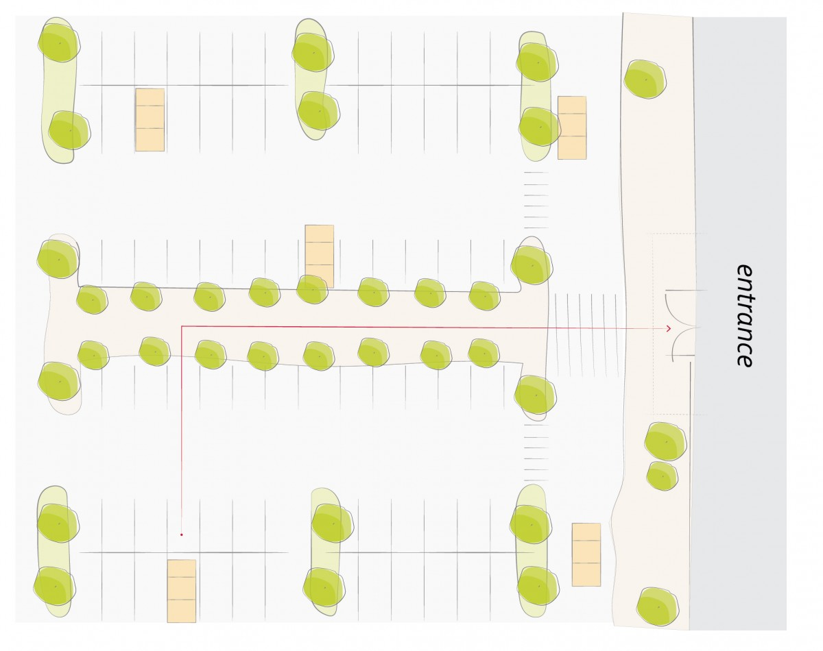 2040 OCP - Form and Character, diagram of parking modules defined by landscaped islands