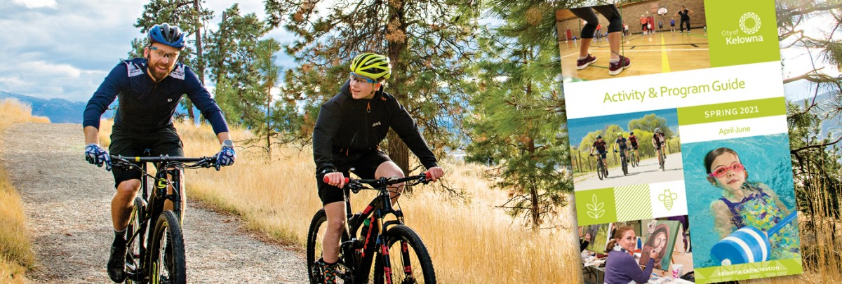 Spring Activity Guide Banner with cyclers in Kelowna