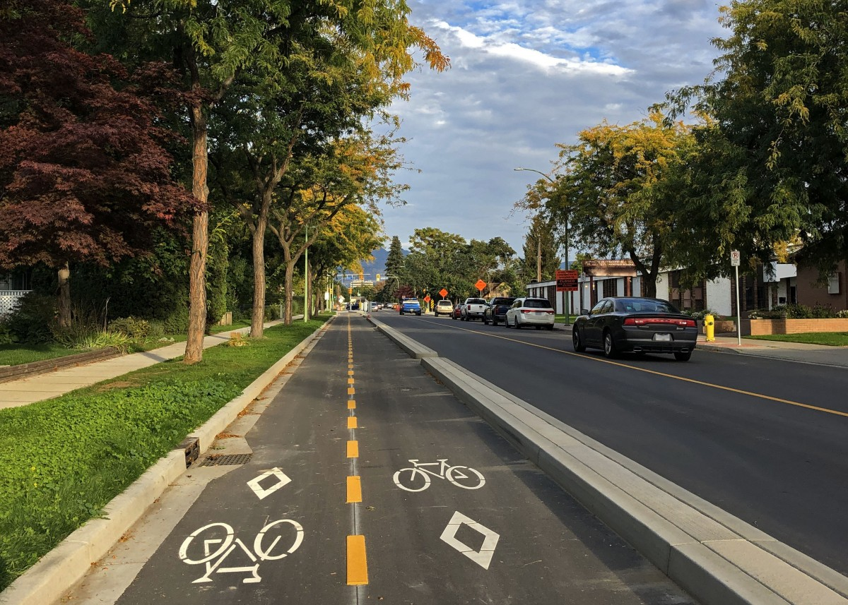 two way protected bike lane on Sutherland Avenue