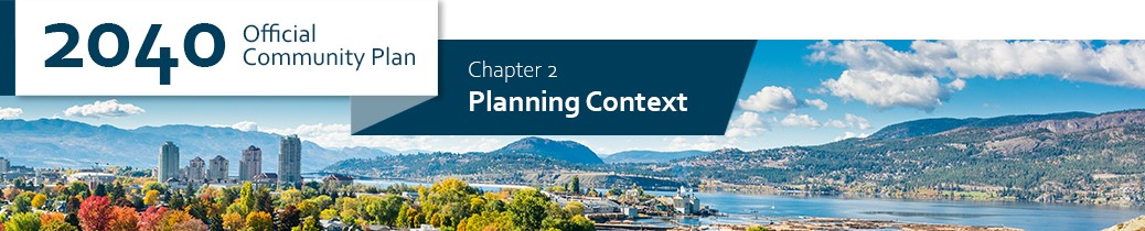 2040 OCP - Chapter 2 - Planning Context chapter header, beauty image from hilltop in Kelowna