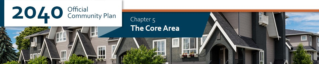 2040 OCP - Chapter 5 - The Core Area chapter header, image of row houses near central corridor of Kelowna