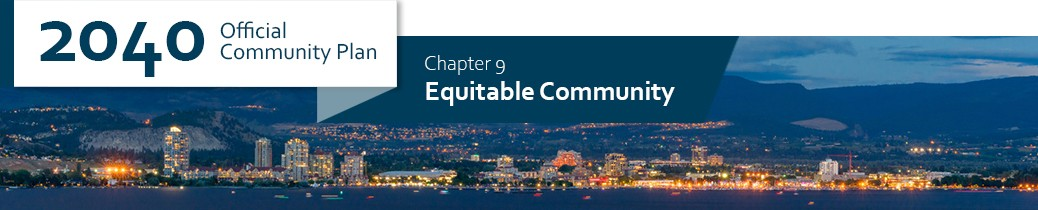 2040 OCP - Chapter 9 - Equitable Community chapter header, image of Kelowna waterfront at night