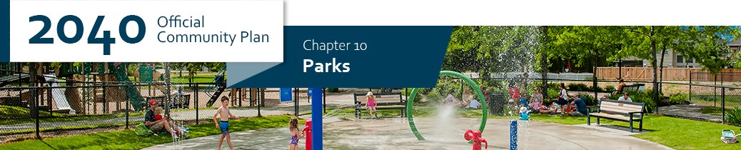 2040 OCP - Chapter 10 - Parks chapter header, image of Quilchena Waterpark in Kelowna