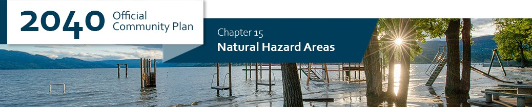 2040 OCP - Chapter 15 - Natural Hazard Areas chapter header, image of flooding at Rotary Beach in Kelowna