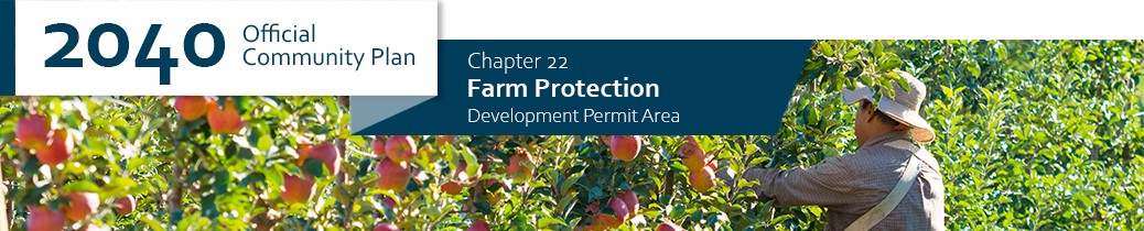 2040 OCP - Chapter 22 - Farm Protection, chapter header, image of farmer in orchard