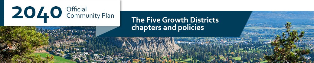Official Community Plan 2040, header image of Five Growth Districts