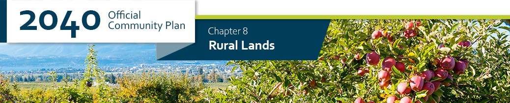 2040 OCP - Chapter 8 - Rural Lands chapter header, image of apple orchard in Kelowna