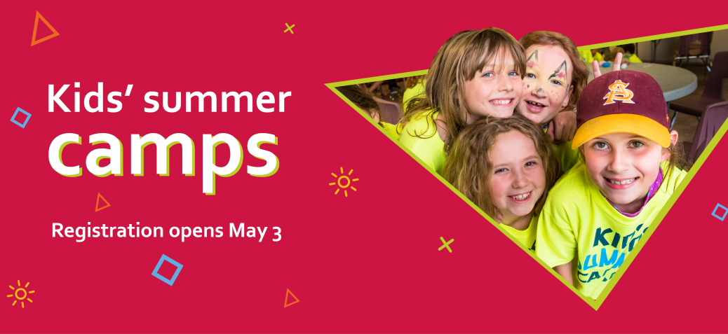 Summer camps header - bright bold colours and a photo of smiling children