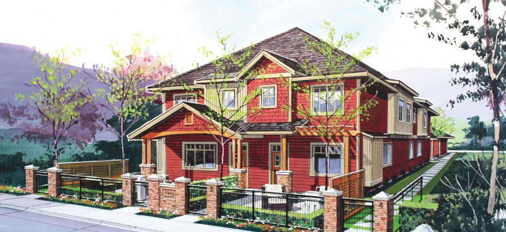 An artist's rendering of one of the two winning designs as part of the Infill Challenge. A total of four units are included in one compact building, closely resembling a single detached dwelling.