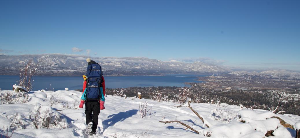 winter hike in snow above kelowna