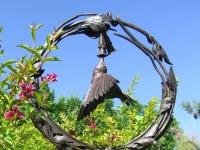 Bird Bath and Hummingbird Sculpture