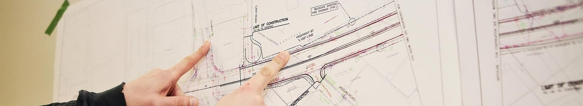 Closeup of a construction map
