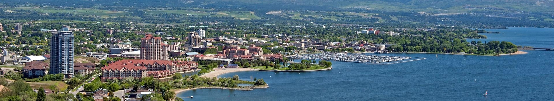 Aerial view of downtown Kelowna
