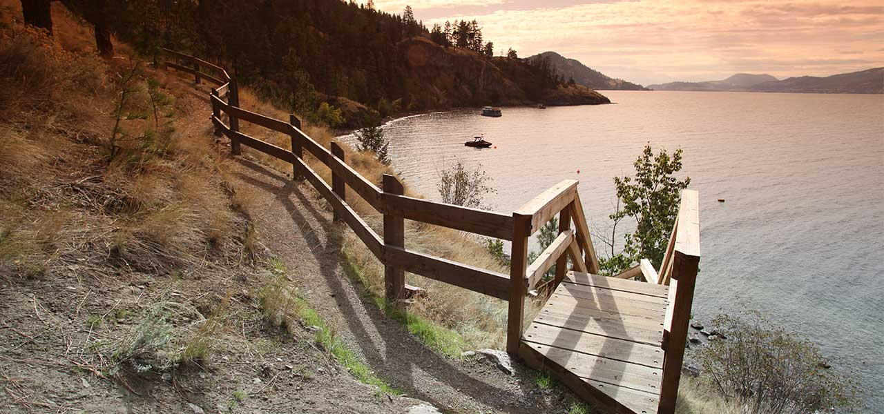 dewdney beach access at sunset