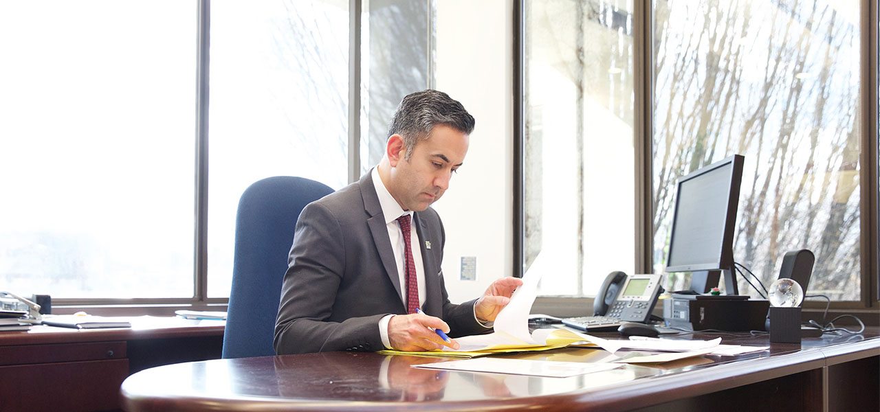 Mayor Basran working in his office