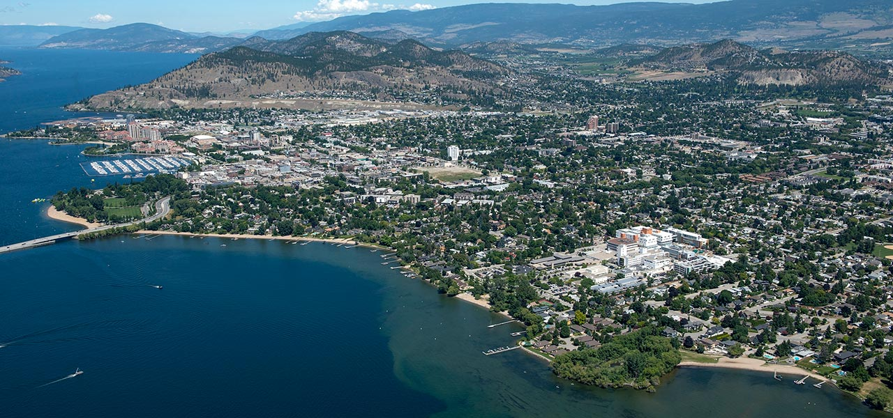 Arial view of Kelowna